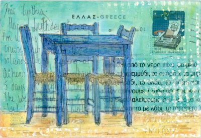 Greek taverna table chairs painting on postcard collage art