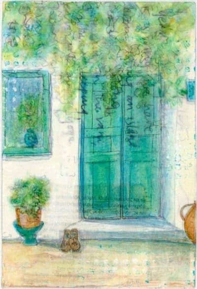 green door with pots and plants painting greek postcard art