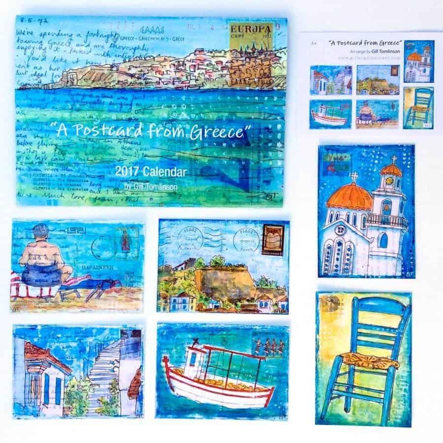 postcards, greece, art, gill tomlinson,