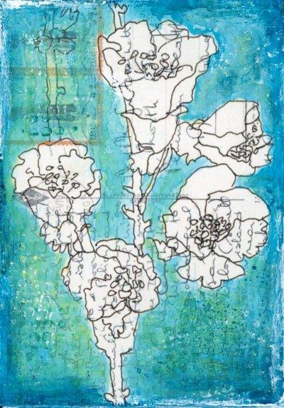 floral drawing on vintage postcard art