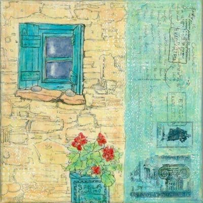 small, window, greek, village, geraniums, painting