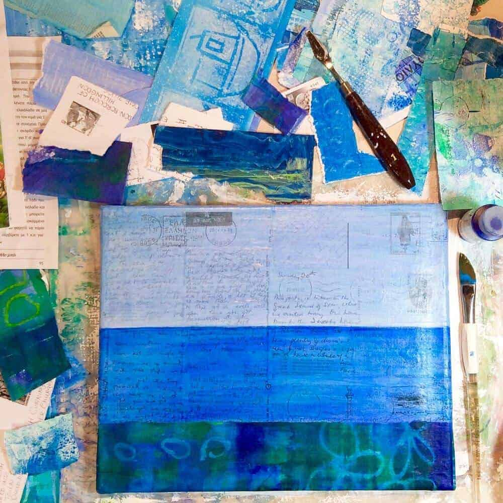 collage, painting, greece, gill tomlinson