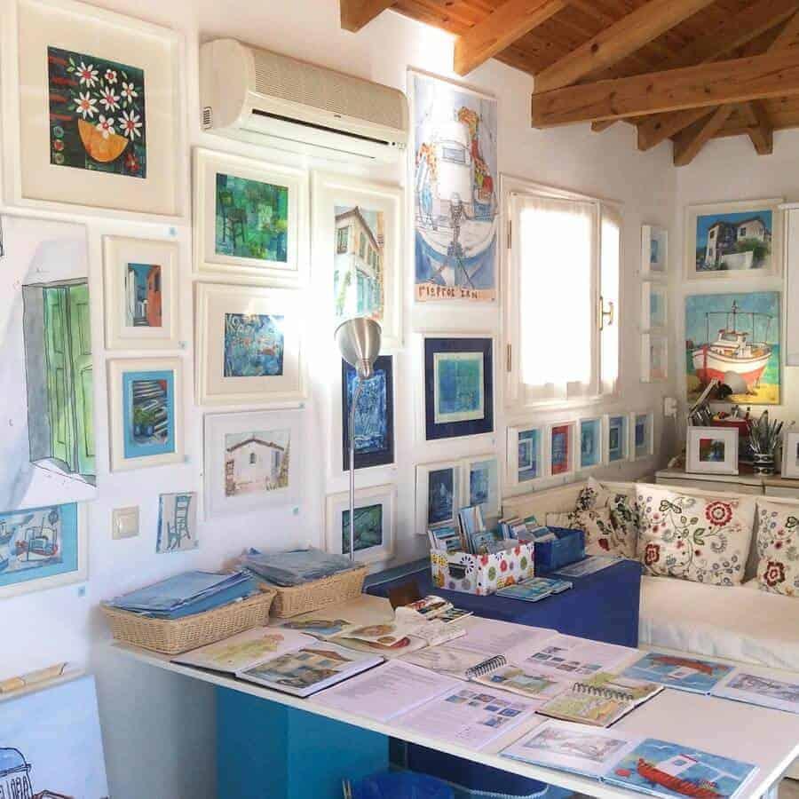 art, studio, Greece Gill Tomlinson, paintings