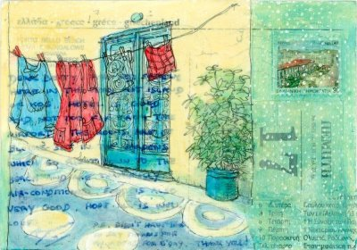 postcard painting street scene washing lines