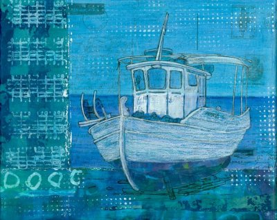 blue mixed media painting of greek fishing boat by artist Gill Tomlinson