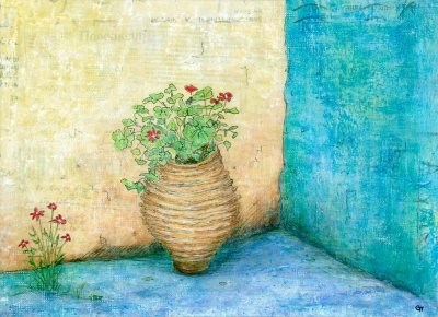 painting flowers Greek pot blue walls Greek text Gill Tomlinsonartist