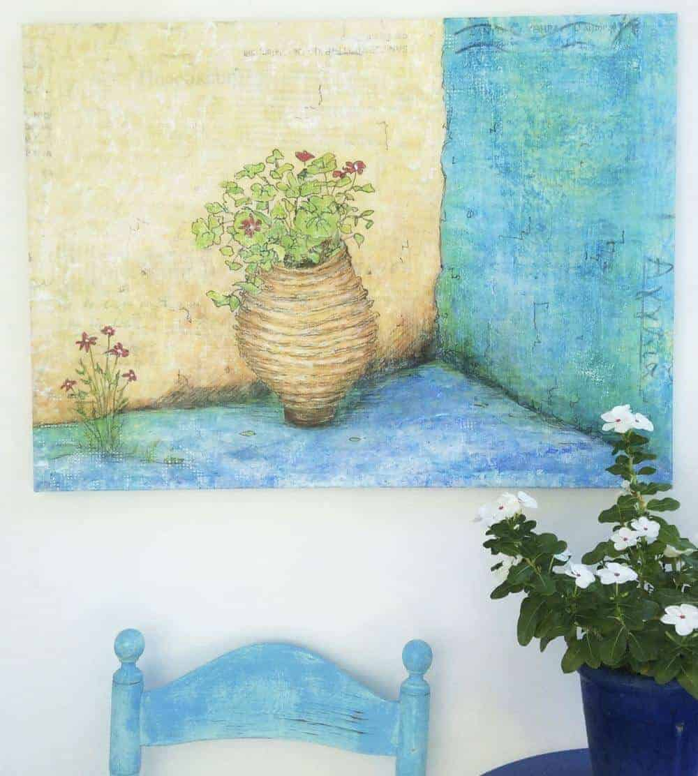 Geraniums in an old pot in the corner of a Greek courtyard painting by Gill Tomlinson