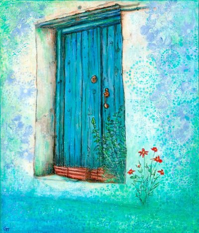 acrylic painting blue door red flowers Gill Tomlinson artist Greece
