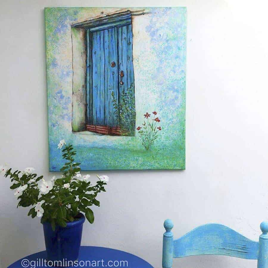 Lost in Time a newly available mixed media painting by Gill Tomlinson of a blue Greek village doorway with flowers