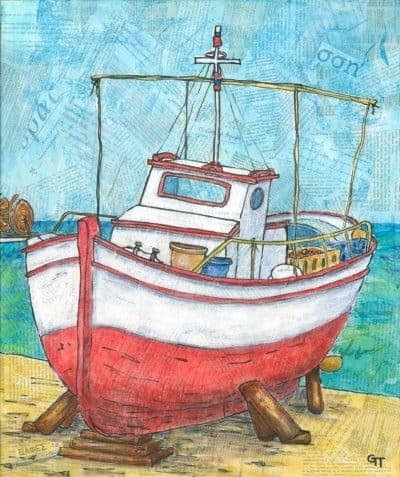 collage painting of Greek fishing boat by English artist Gill Tomlinson
