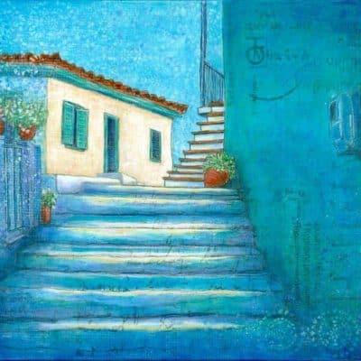 Greek village scene backstreets steps blue walls