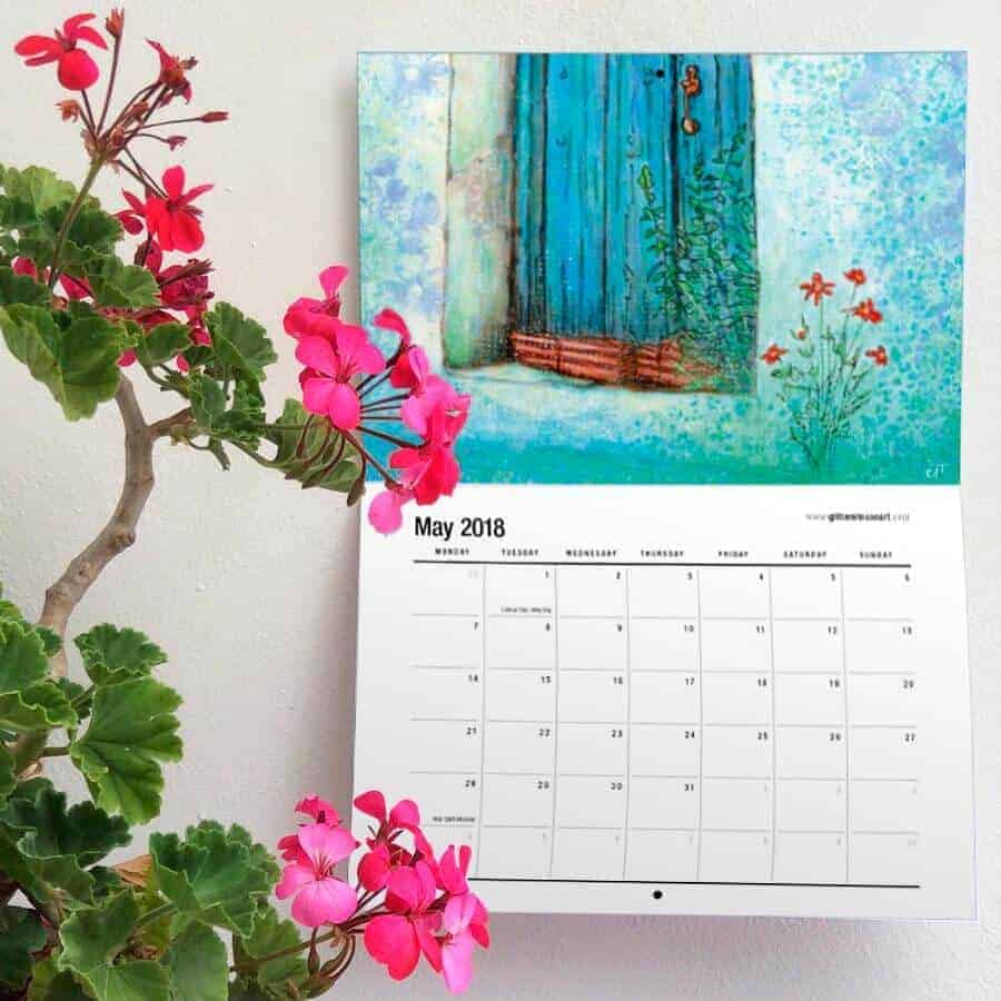 May 2018 blue door painting art calendar