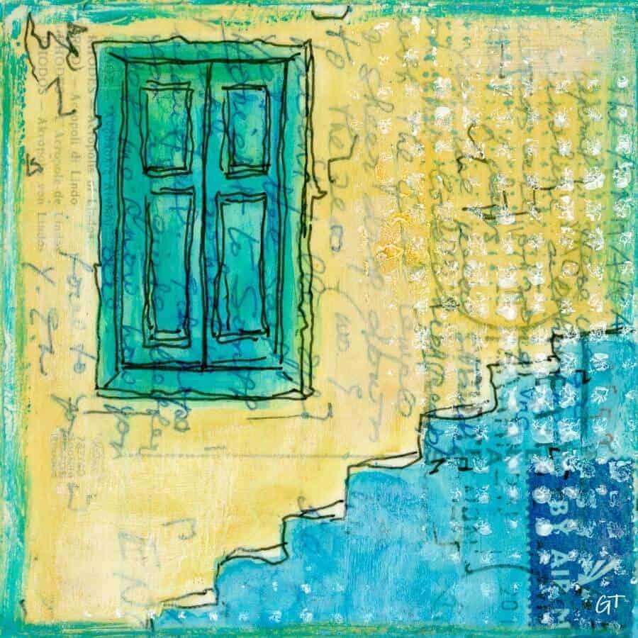 blue steps green shutters Greek village painting postcard art