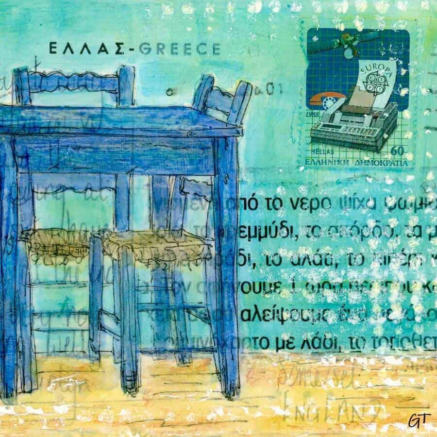 blue taverna table chairs postcard art Greece