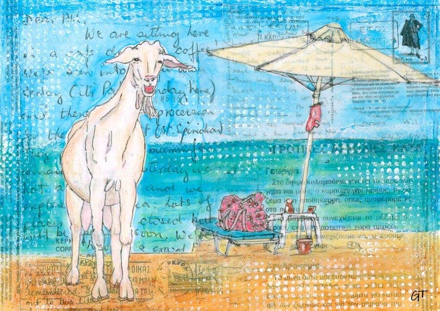 holiday goat painting gill tomlinson art