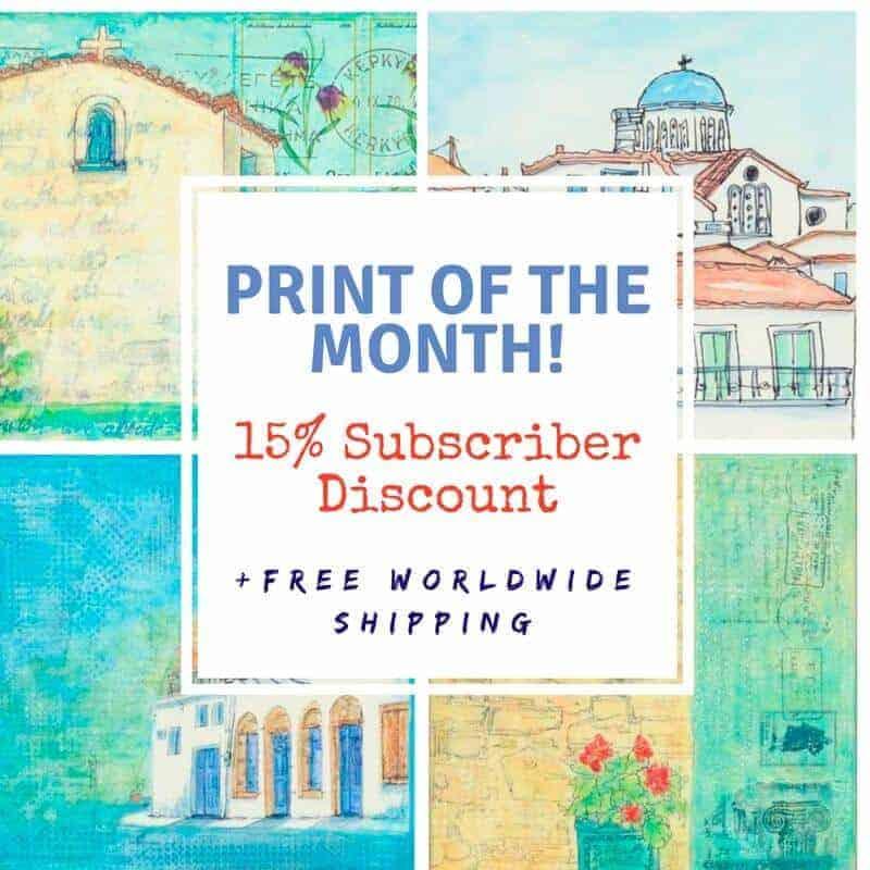 art, print, discount, subscribers, gill tomlinson, art, greece, greek, art