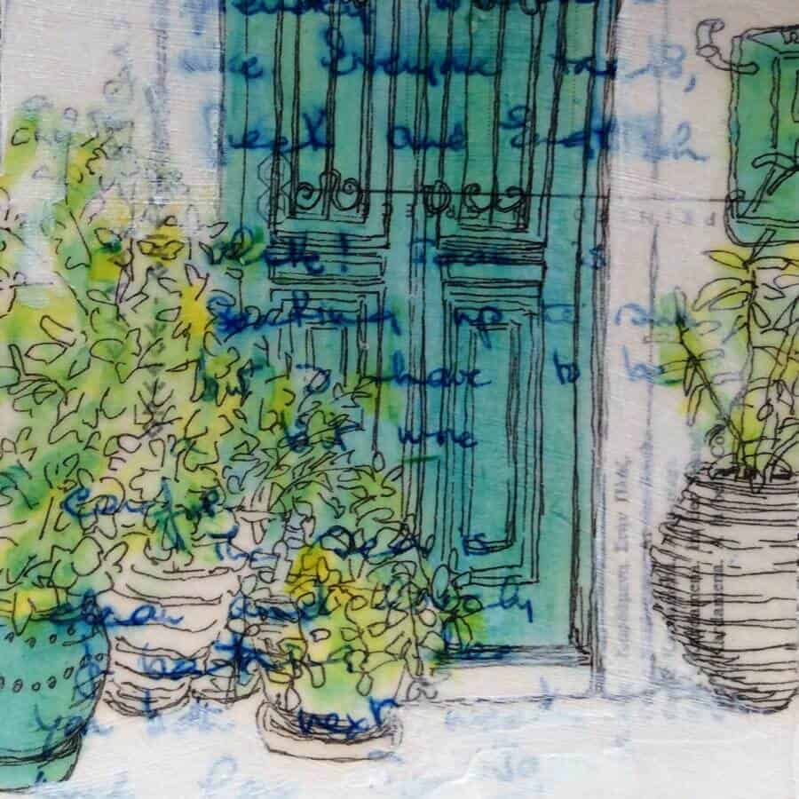 greek door plant pots original postcard art