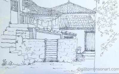 Greek Village Sketch