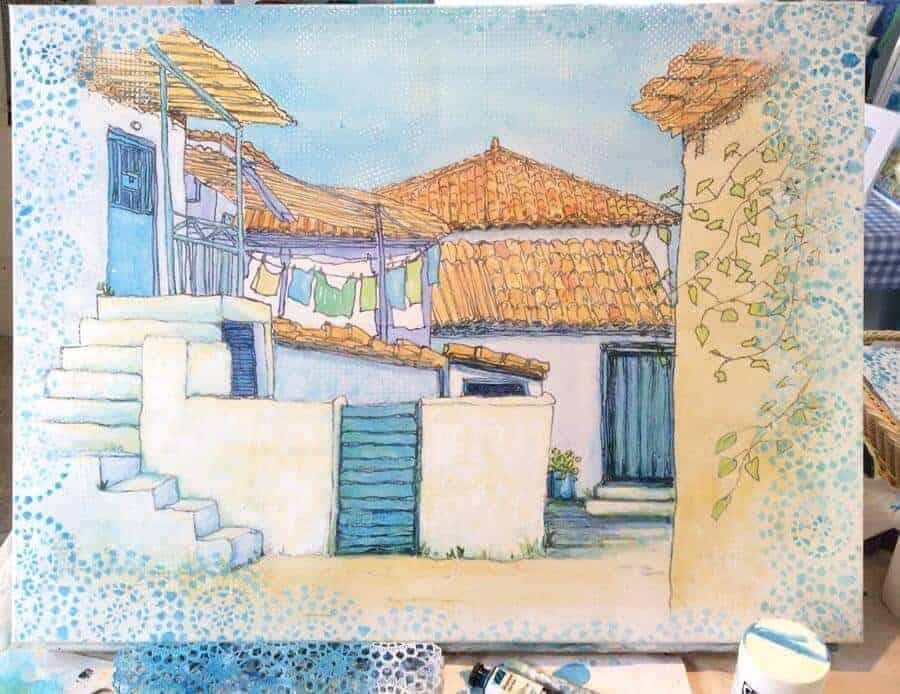 greek village sketch work in progress
