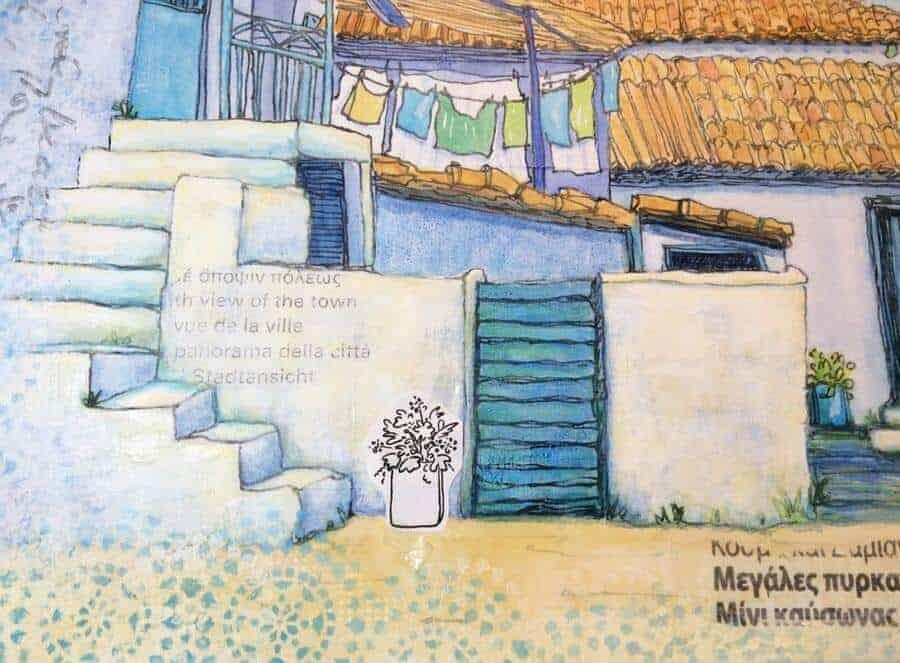 greek village painting drawing work in progress