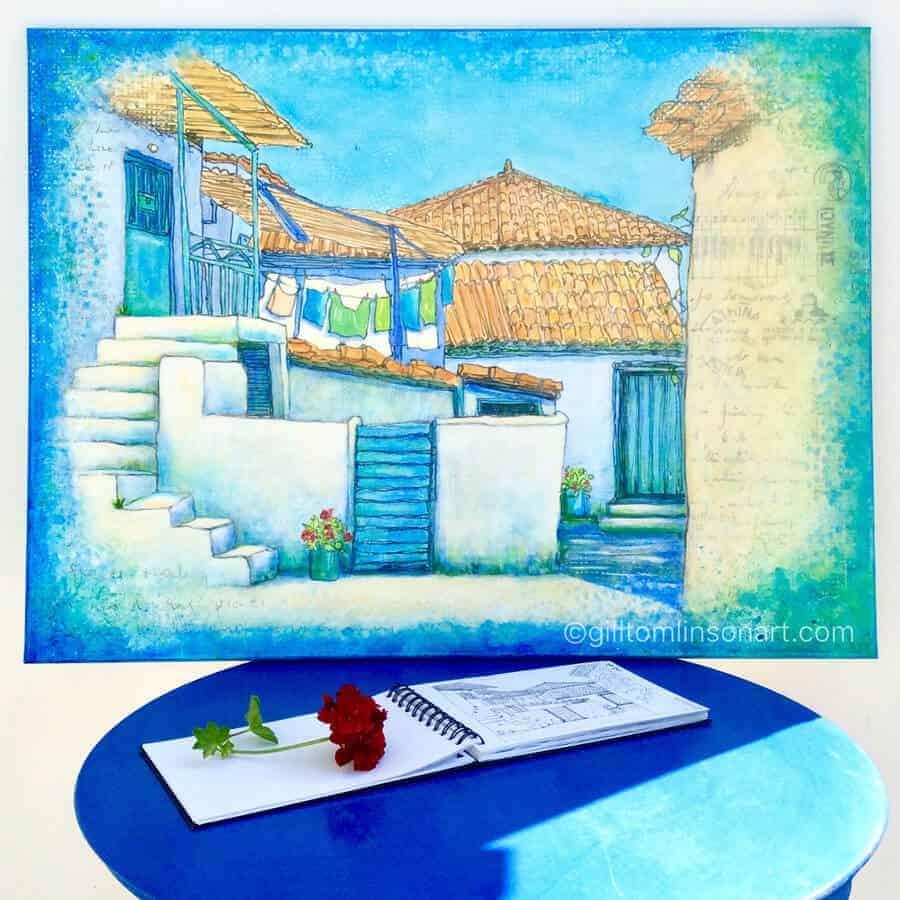 greece, greek-village-scene, painting