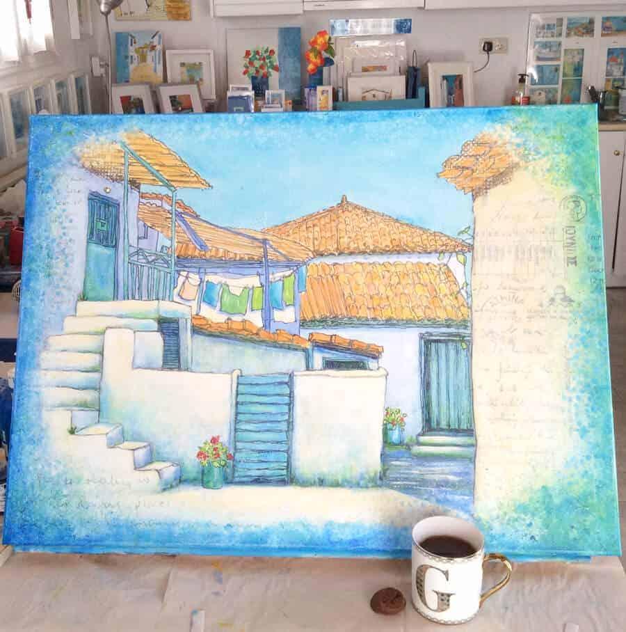 greek village scene work in progress