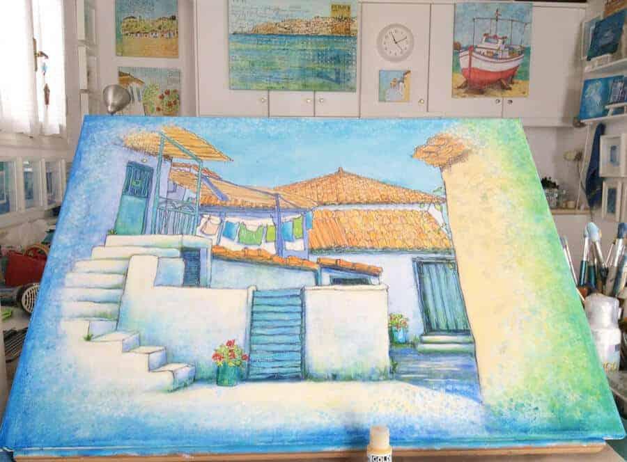 greek, village, painting,