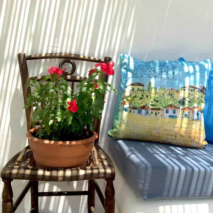 beautiful scenery cushion with art from Greece by gill tomlinson art