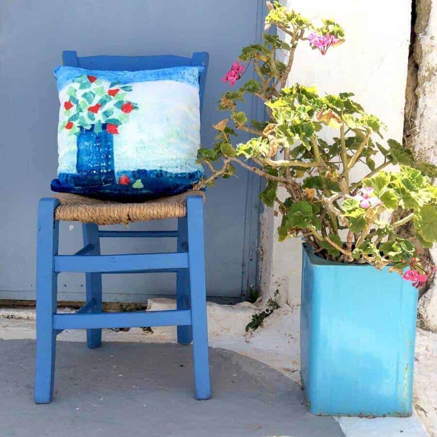 greek geranium design cushions by gill tomlinson art