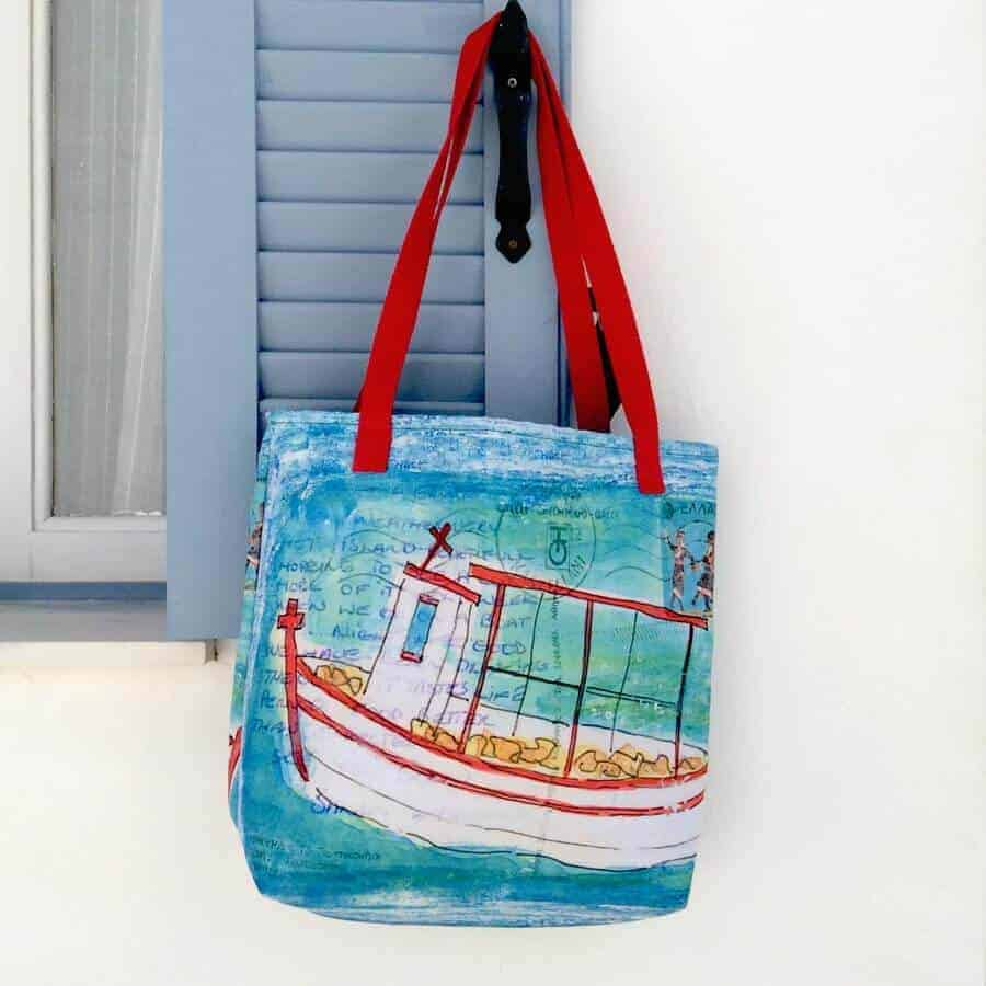tote bag greek fishing boat greece