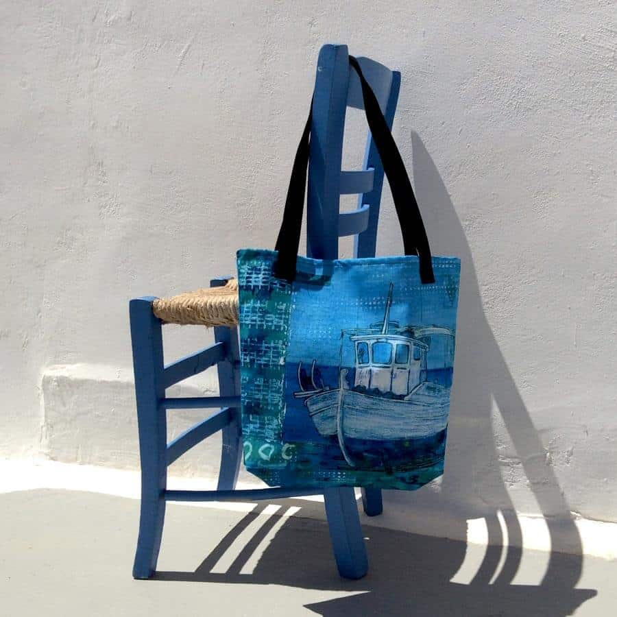 tote bag with artwork of greek fishing boat by gill tomlinson art