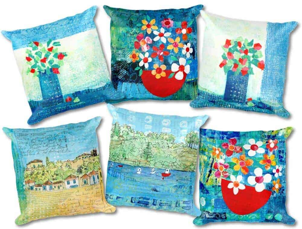 six cushion designs with artwork inspired by greece by gill tomlinson artist
