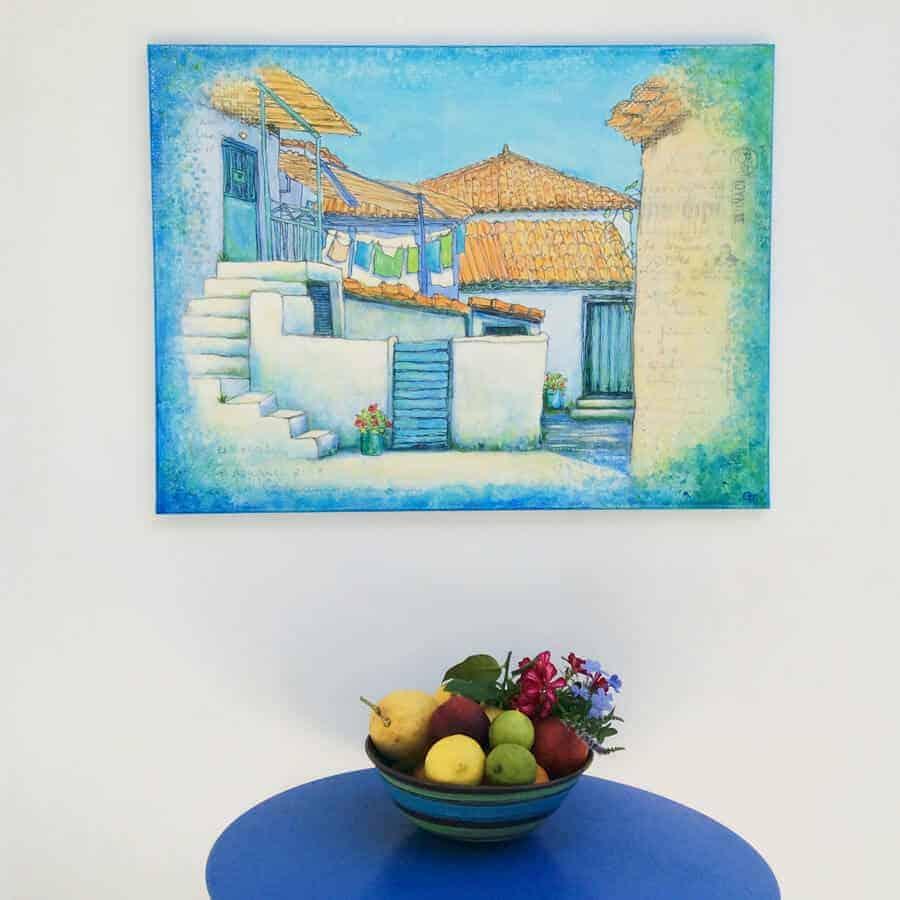original painting greek village siesta time by gill tomlinson