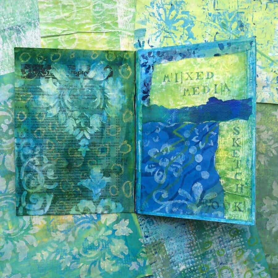 sketchbook greek greens and blues mixed media by gill tomlinson art