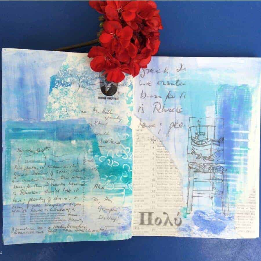 mixed media sketchbook by gill tomlinson art