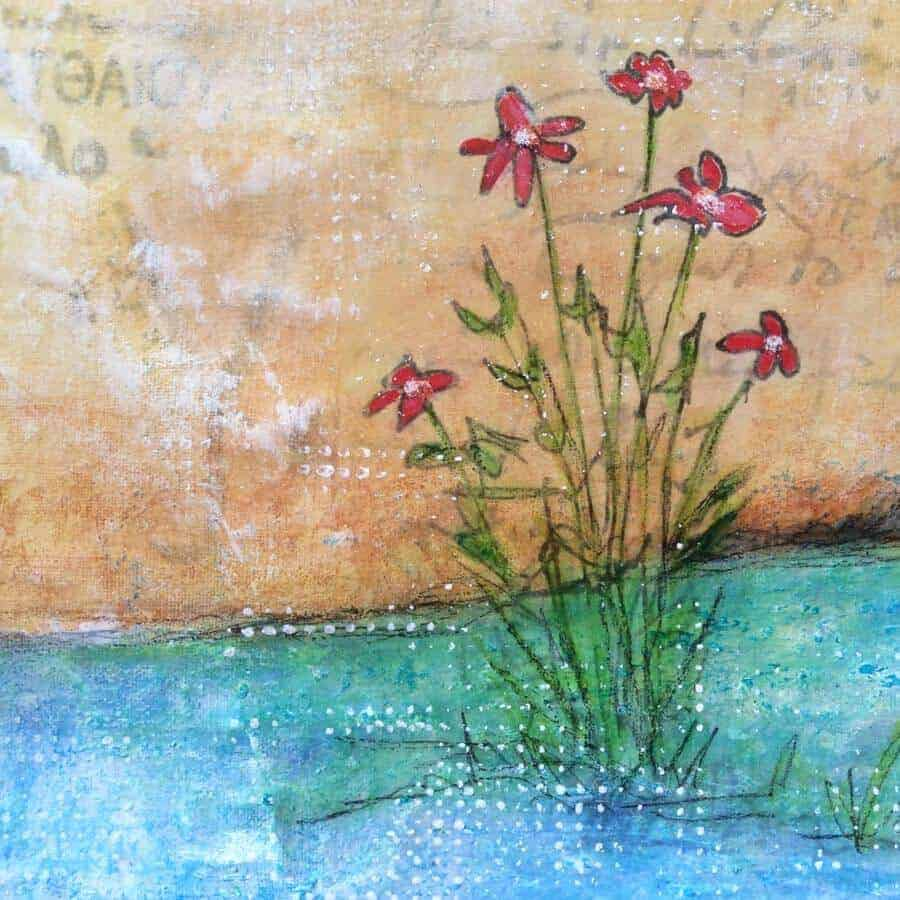 flower detail of forgotten corner painting by gill tomlinson art